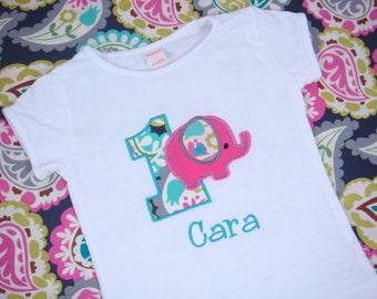 Birthday Girl Shirt - First Birthday Girl - Elephant Birthday Party Shirt