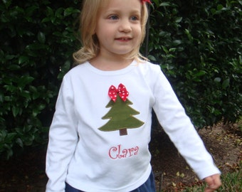 girls christmas shirt personalized girls christmas tree shirt girl or boy toddler or
