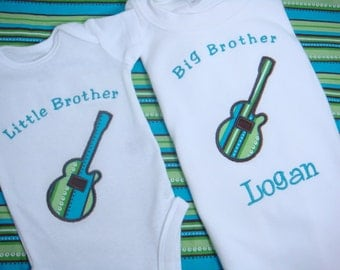 Personalized Big Brother Shirt - Big Brother Guitar Shirt - Big Bro Shirt - Big Sister Shirt - Little Brother/Sister Bodysuit - Sibling Set