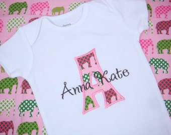 PERSONALIZED Baby Girl Bodysuit - Pink and Green Elephant Baby Girl Bodysuit - Short Sleeve Initial Applique - Baby Shower Gift