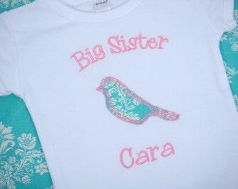 Big Sister Shirt  - Big Sister Bird Shirt - Big Sister Giftt - Big Brother Shirt - Frayed Bird Sibling Shirt