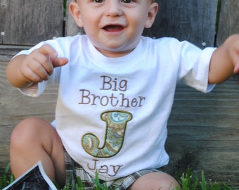 Big Brother Shirt - Personalized Big Brother Shirt - Initial Big Brother Shirt - Big Bro Shirt - Initial Applique