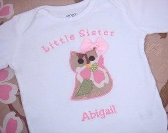 Little Sister Owl Shirt - Little Sis Shirt - Little Sister Shirt - Little Brother Owl Bodysuit - Little Bro Shirt - Sibling Bodysuit