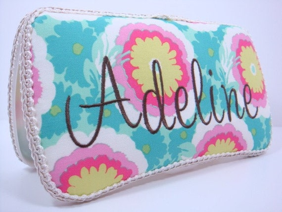 PERSONALIZED Diaper Wipe Case - Turquoise and Hot Pink Diaper Wipe Case - Amy Butler Soul Blossoms Buttercups Diaper Wipe Case
