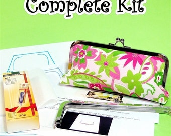COMPLETE Make Your Own clutch kit with Lily fabric included - & 6 patterns - USA only
