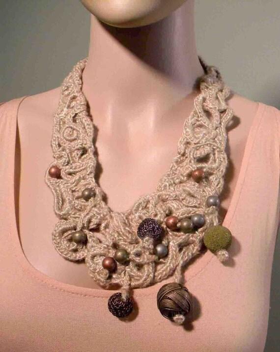 ELEGANT RUSTIC NECKLACE - 2012 Collection, Freeform Crocheted, Italian Pure Linen, Acrylic & Metallic Balls