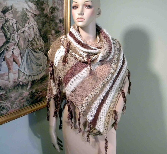 Reduced - SHAWL/WRAP/STOLE - 2012 Collection, Timeless Elegant, Lacy Extra Long, Exquisite French Angora & Luxurious Italian Cotton Mix