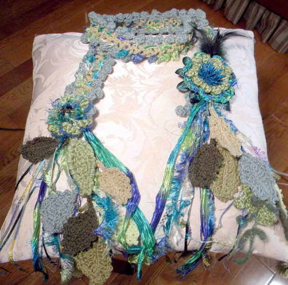 TRENDY SCARF/LARIAT - 2012 Collection, Wearable Fiber Art Jewelry, Skinny Extra Long, Handmade Detachable Flower Brooch