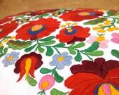 Colorful hand embroidered (matyo) folk art pillow
