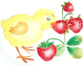 Chick eating Strawberry, new towel painted with vintage stencil