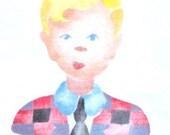 Boy, painted dishtowel from a 1950s hand cut stencil