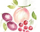 Peach Cherry Plum, new towel painted with vintage stencil