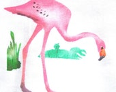 Flamingo, 1950s stencil painted on a new dishtowel