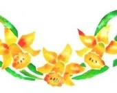 Daffodil Garland, new towel painted with a vintage stencil