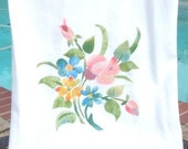 Kitchen towel, Spring Flowers, stenciled with a 1950s vintage stencil