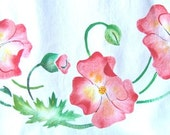 Flowers with buds, new towel painted with a vintage stencil