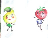 Dancing Fruits, Strawberry and pear vintage stencil painted on new towel
