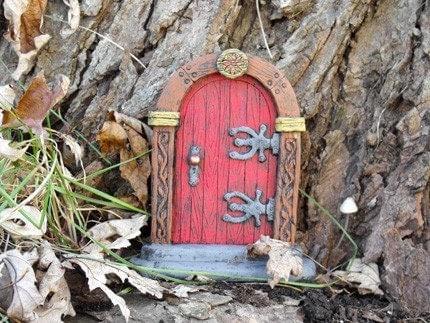 Red fairy door by hiddenworlds on etsy for Red elf door