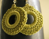 Olive Green  - crocheted earrings