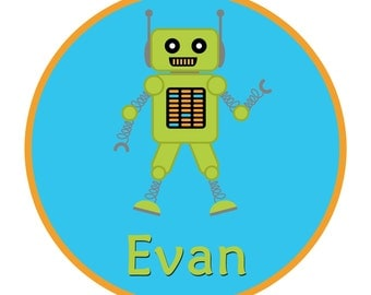 Cute Personalized Robot Boy Shirt or Bodysuit  - customized with any name