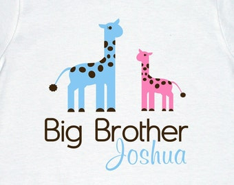 Adorable Giraffe Big Brother or Big Sister Shirt - Personalized with your child's name