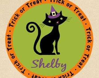 Personalized Halloween Cat Trick or Treat Tote Bag - Personalized with ANY Name