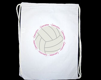 Personalized Volleyball Drawstring Backpack Sports Bag - personalized with any name and you get to choose the font and font color