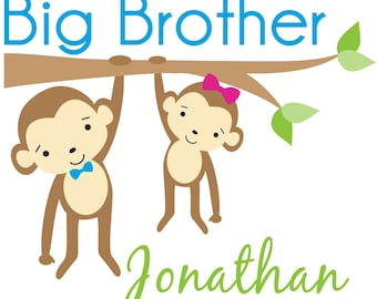 Adorable Monkey Big Brother Shirt - Personalized with your child's name