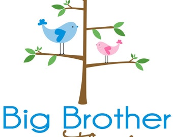 Adorable Bird Big Brother Shirt - Personalized with your child's name
