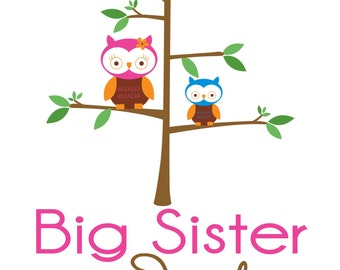 Adorable Owls Big Sister Shirt - Personalized with your child's name