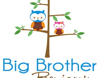 Adorable Owls Big Brother Shirt - Personalized with your child's name