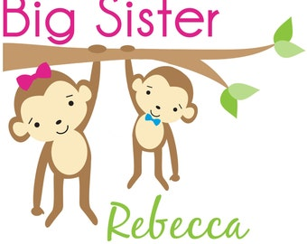 Adorable Monkey Big Sister Shirt - Personalized with your child's name