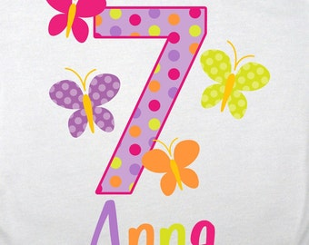 Personalized Bright Butterflies Birthday Shirt - Personalized with ANY name and age