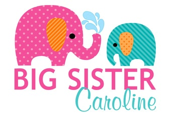 Adorable Big Sister Elephants Tshirt or Bodysuit with a pink, blue or yellow baby elephant - Personalized with ANY name