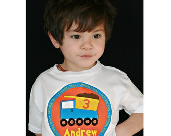 Construction Dump Truck Personalized Birthday Boy Shirt or Bodysuit - Personalized with ANY name and age