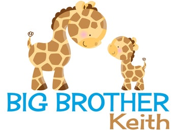 Personalized Adorable Giraffes Big Brother Shirt or Bodysuit - Perfect for the big bro or to announce a pregnancy