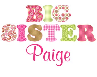 Adorable Green & Pink Big Sister Shirt - Personalized with ANY name