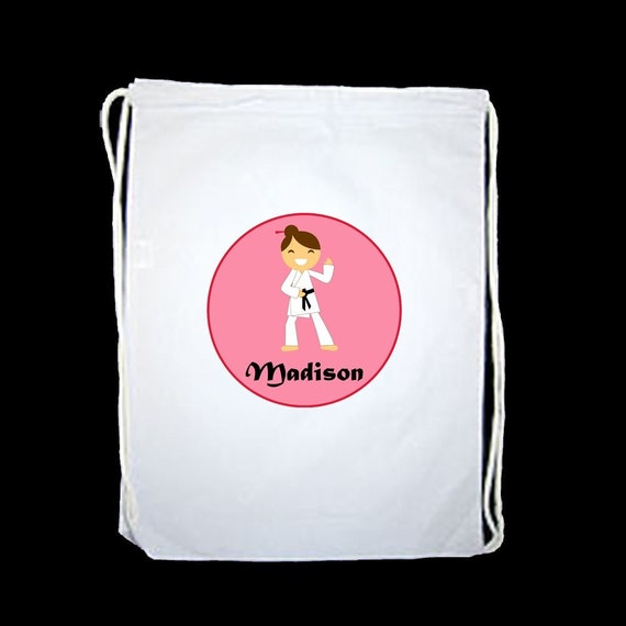 Personalized Karate Martial Arts Girl Drawstring Backpack Sports Bag - personalized with any name, hair and skin color and the pose
