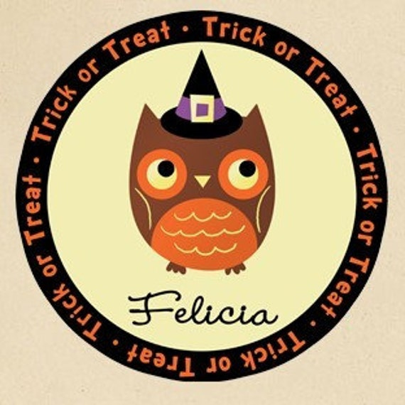 Personalized Halloween Owl Trick or Treat Tote Bag - Personalized with ANY Name