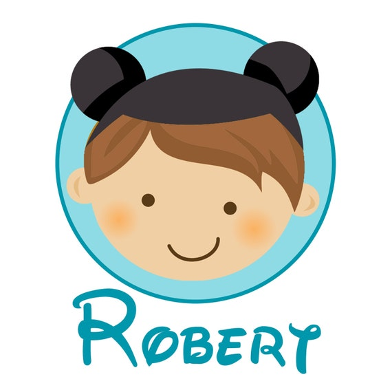 Personalized Boy With Mouse Ears - Personalized with ANY name and to look like your child