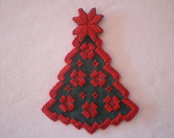Hardanger Embroidered Christmas Tree Ornament