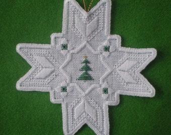 "Hardanger Holiday Ornament  -   "" 8 Point Star"""