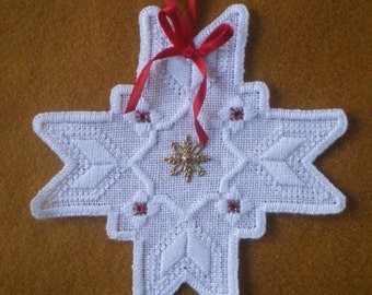 "Hardanger Holiday Ornament  -   "" 8 Point Star"""