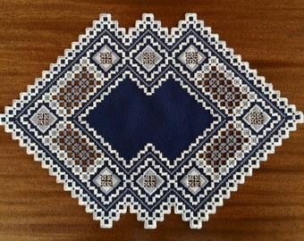 Navy Blue & Greys Hardanger Piece