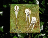 "golden seeds - 3"" x 3"" original artwork  painting and collage"