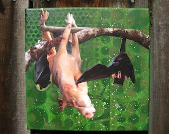 take that - original painting with vintage collage-  pig, bat