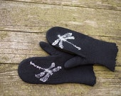 Dragonfly mittens felted wool mittens black mittens merino wool glvoes with silk mohair insects with swarovski eyes Christmas gift