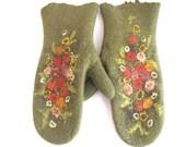 Felted mittens green olive flowered --- Handmade to Order - aureliaLT