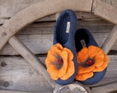 Handmade felted slippers --- size US 6.5 - 7, EU 36 - 37 --- Ready to Ship NOW