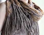 Sand dream --- Handmade nuno felted scarf with fringe --- Ready to ship now